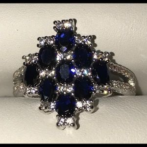 Size 6 white and blue sapphire silver ring